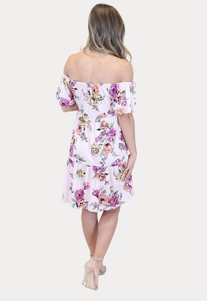 maternity mini dress with flowers