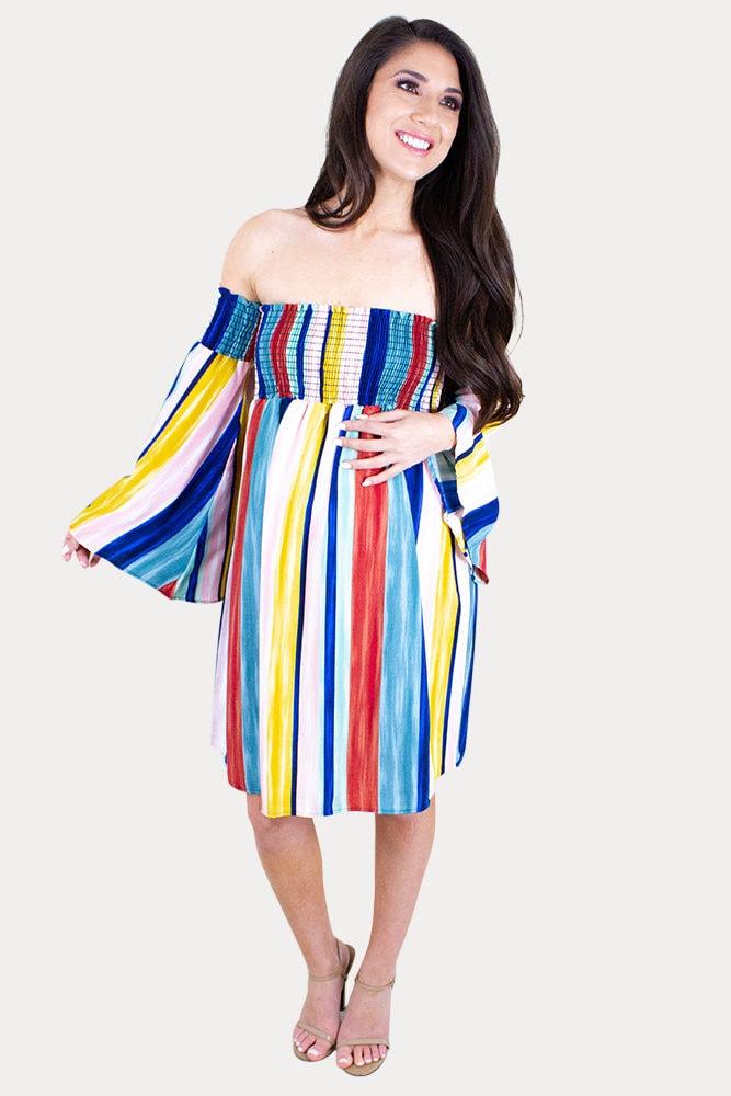 striped maternity mini dress