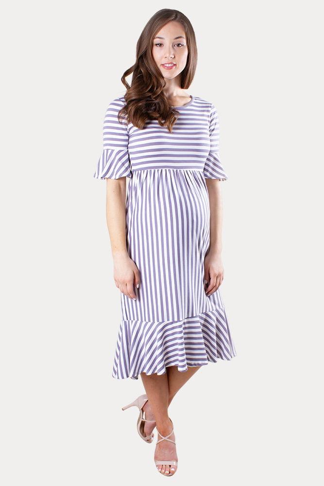 striped ruffle maternity dress