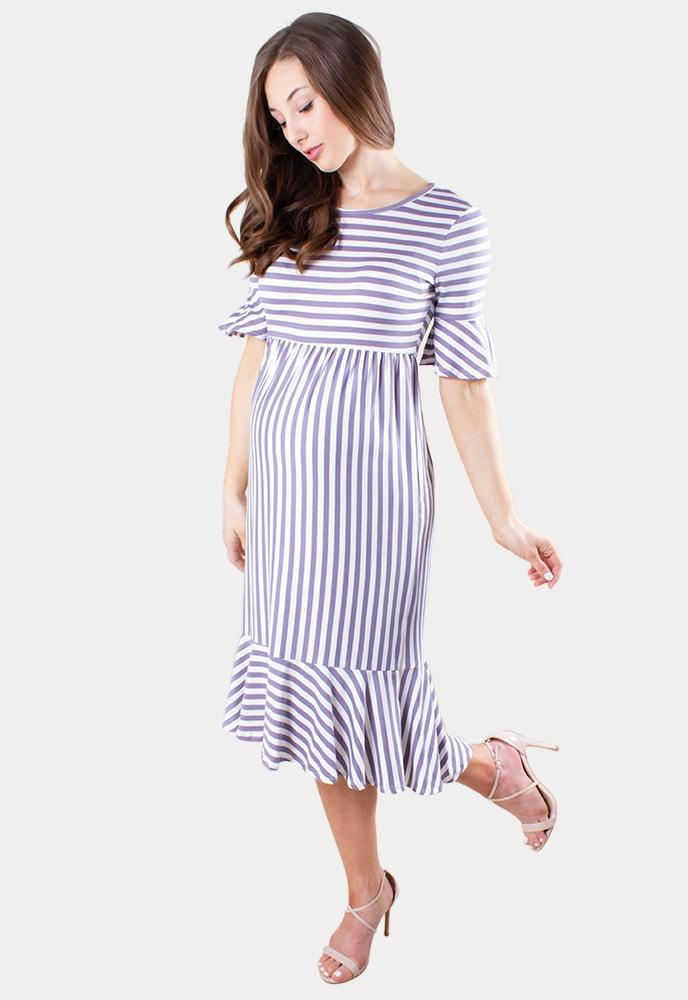 Striped Ruffle Maternity Dress Sexy Mama Maternity