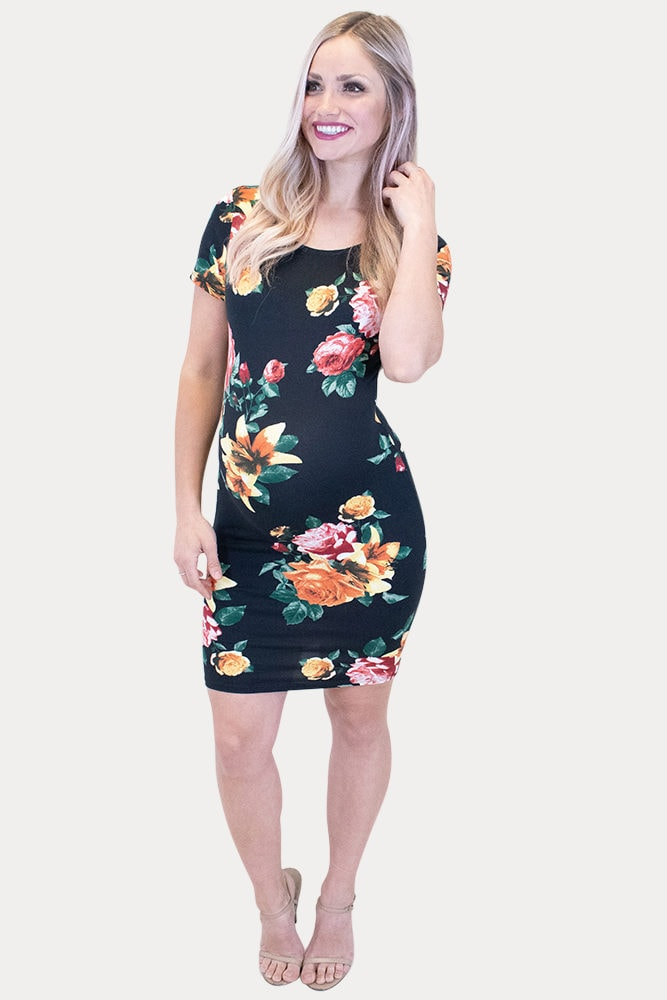 floral bodycon pregnancy dress