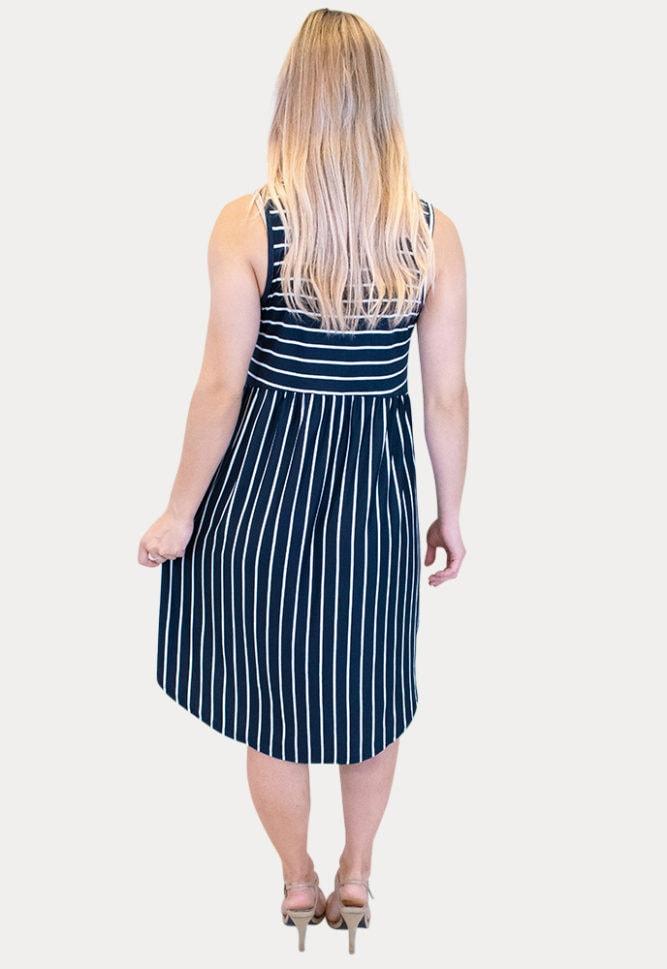 sleeveless striped maternity dress