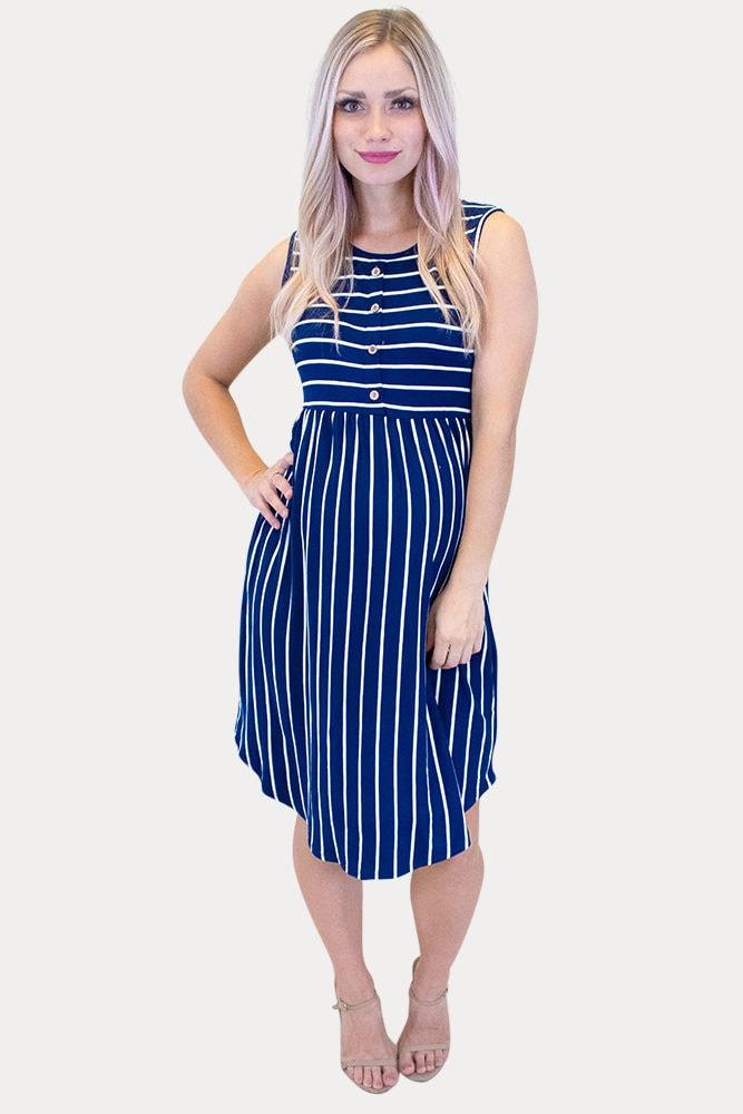 navy striped maternity dress