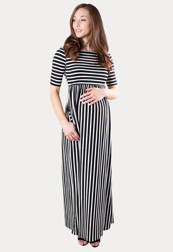 Striped Maternity Maxi Dress Sexy Mama Maternity