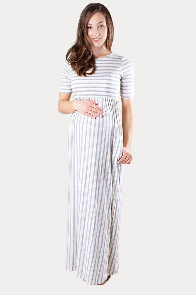 striped maternity maxi