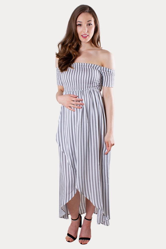 striped maternity wrap dress