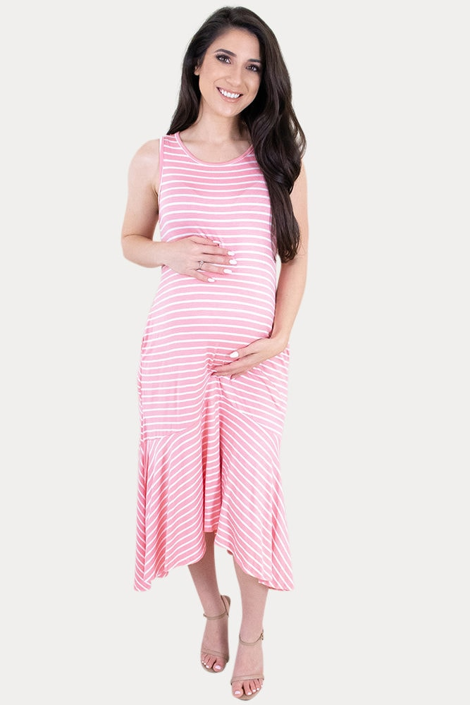 striped sleeveless maternity dress