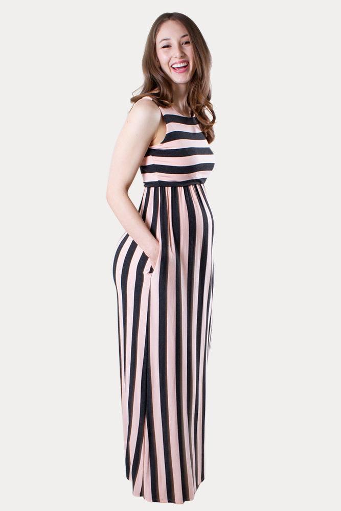 striped maternity maxi dress