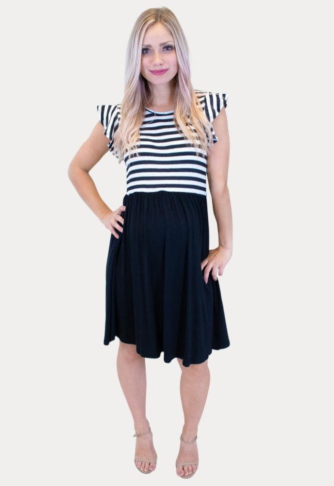 black striped maternity dress