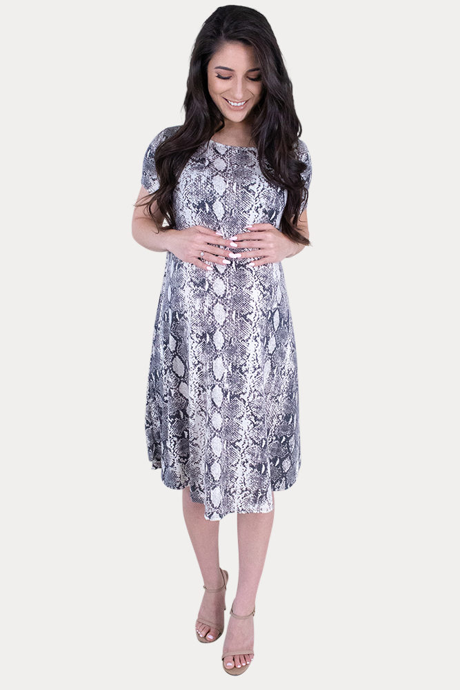 snake print maternity dress