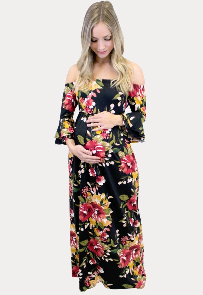 black floral maternity maxi