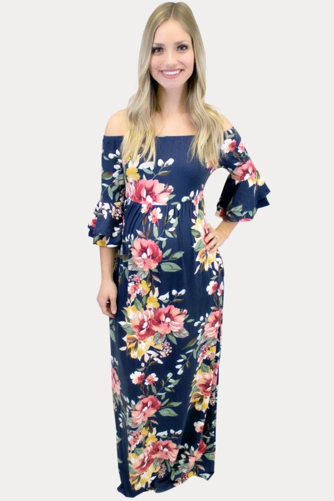 navy floral maternity maxi