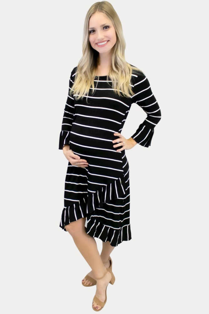 striped black maternity dress