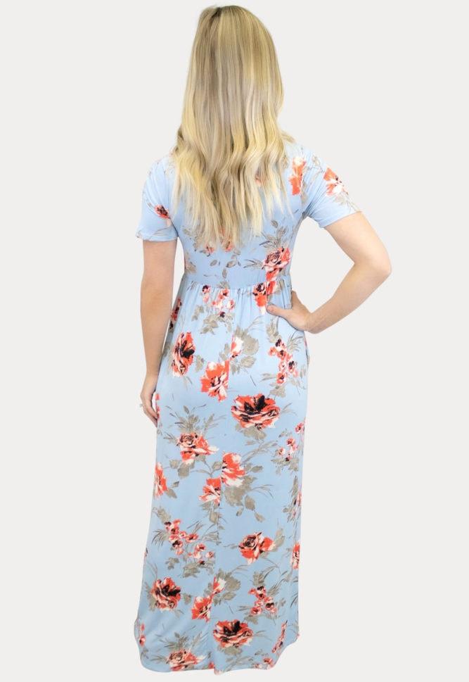 short sleeve floral maternity maxi