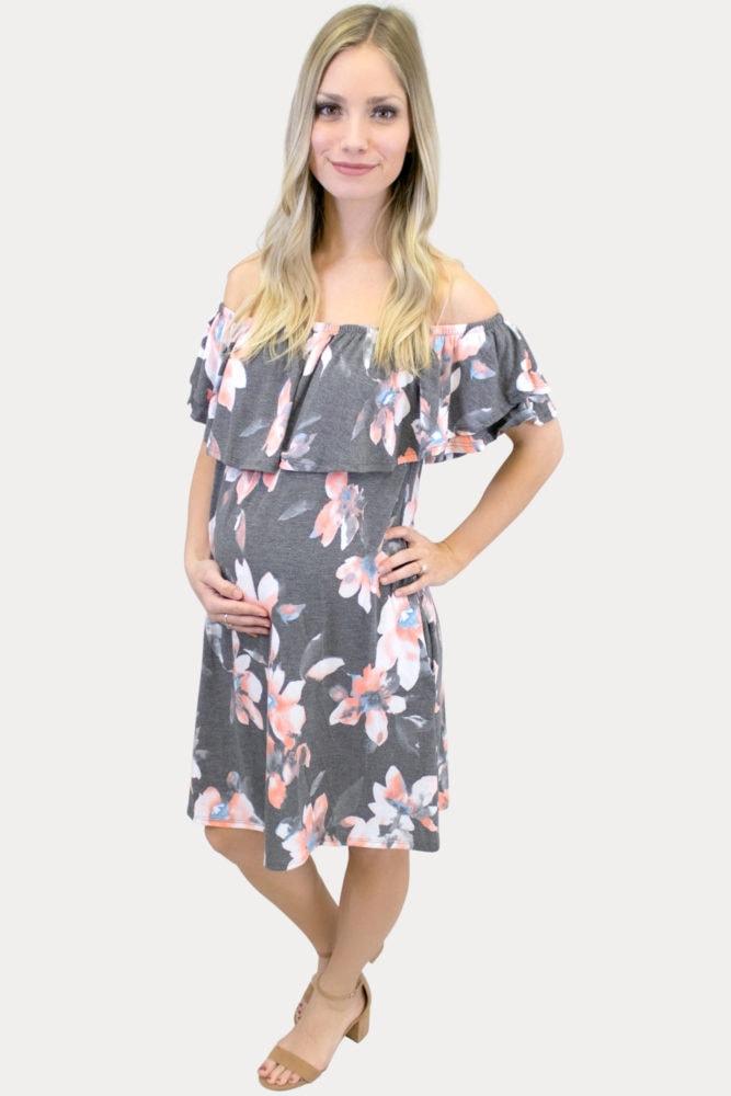 off the shoulder floral maternity dress