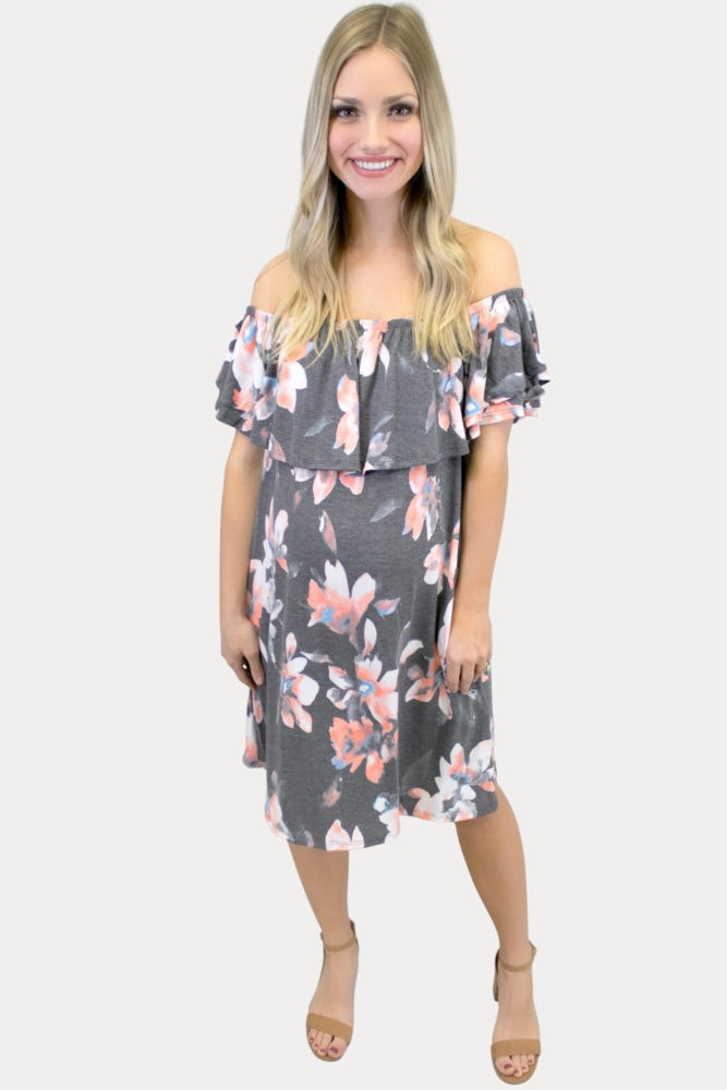 off the shoulder floral maternity dress