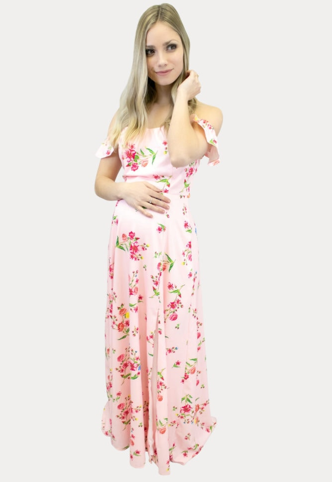 floral maternity maxi in papaya