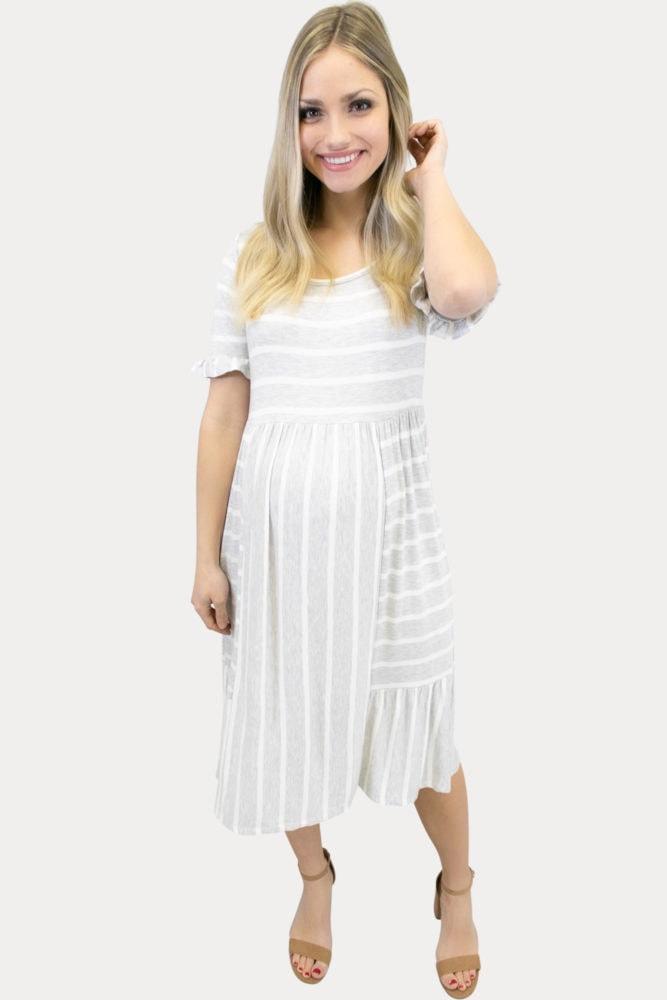grey striped maternity dress