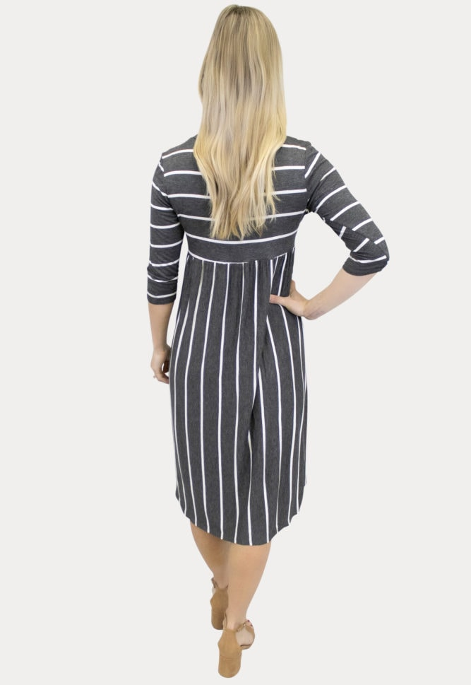 thin stripe maternity dress