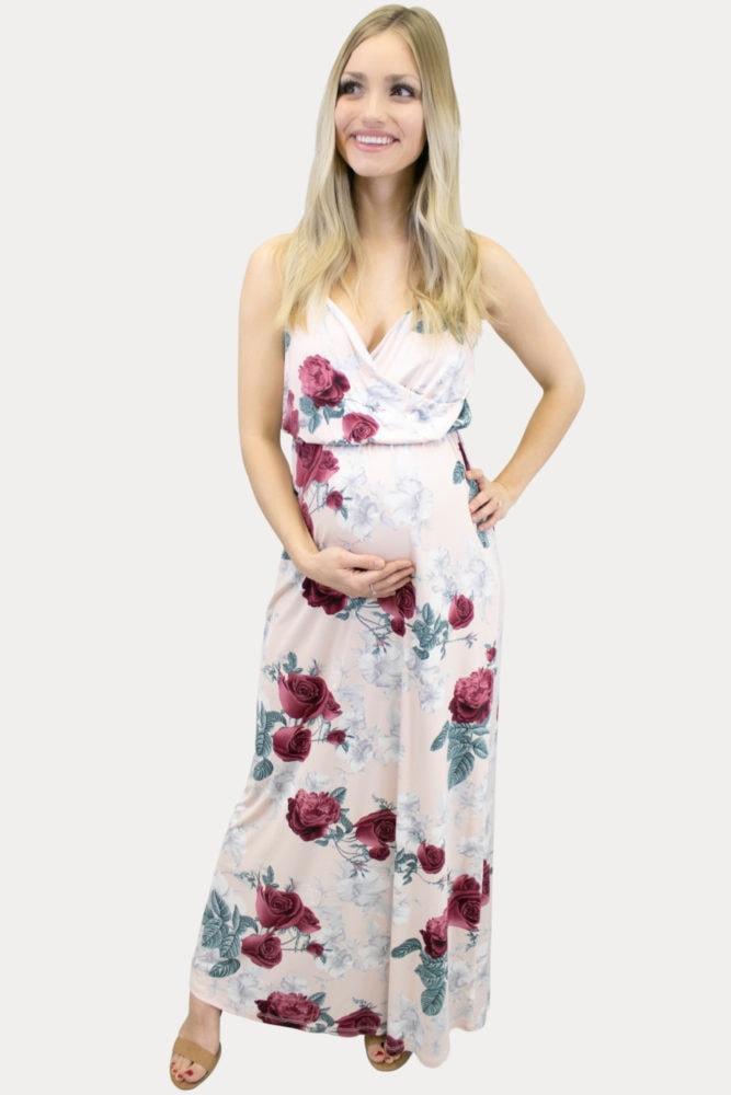 sweetheart maternity maxi dress