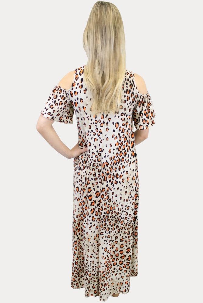 cream leopard maternity dress