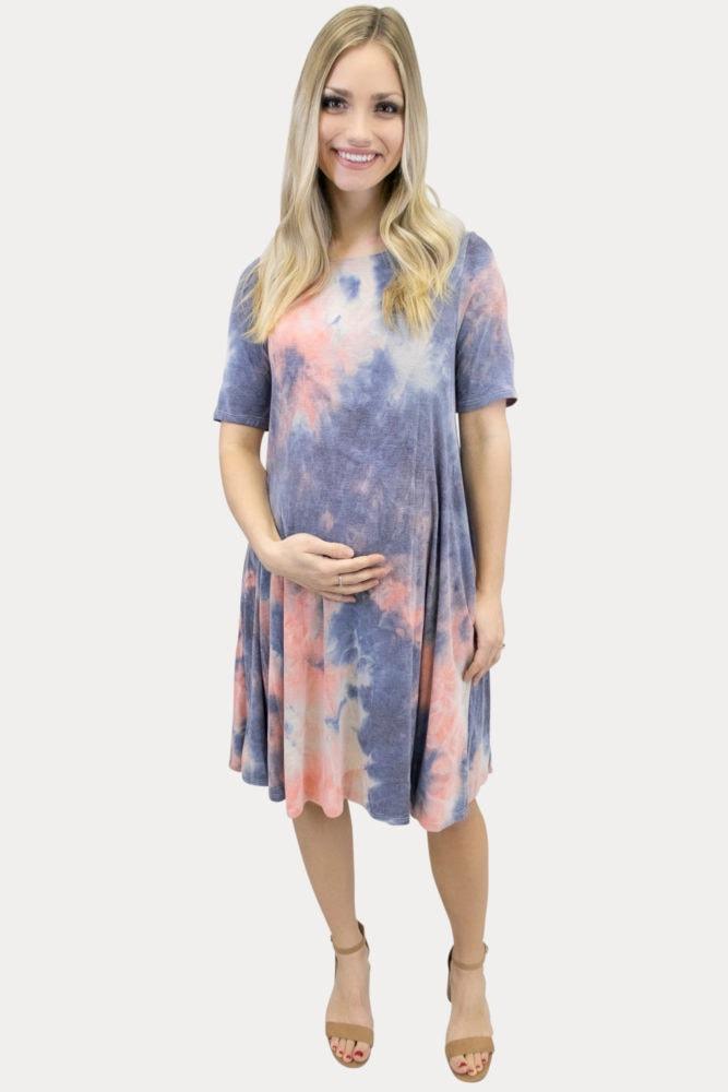 short sleeve tie dye maternity dress