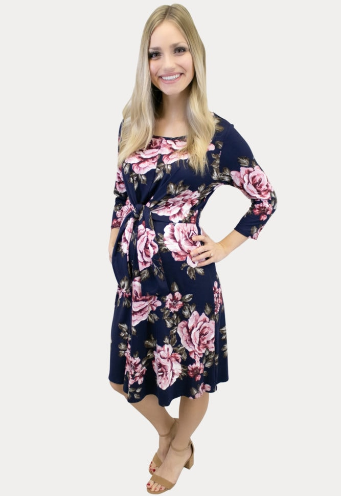 tie front floral maternity dress