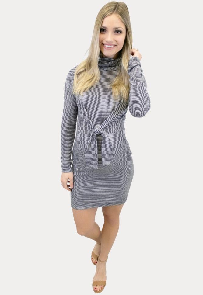 charcoal striped maternity dress