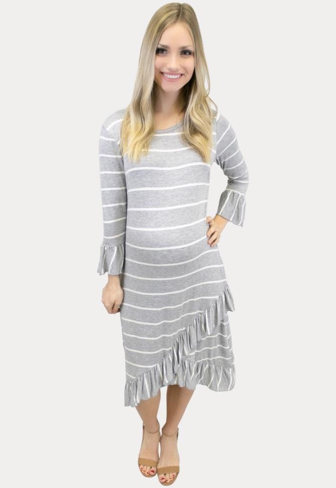 striped grey maternity dress