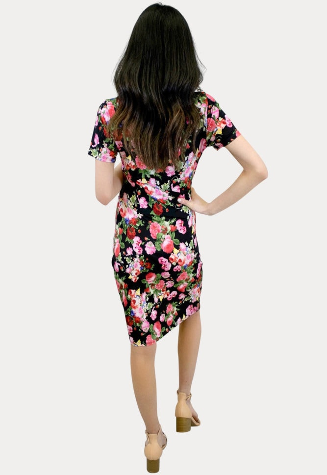 floral black maternity dress