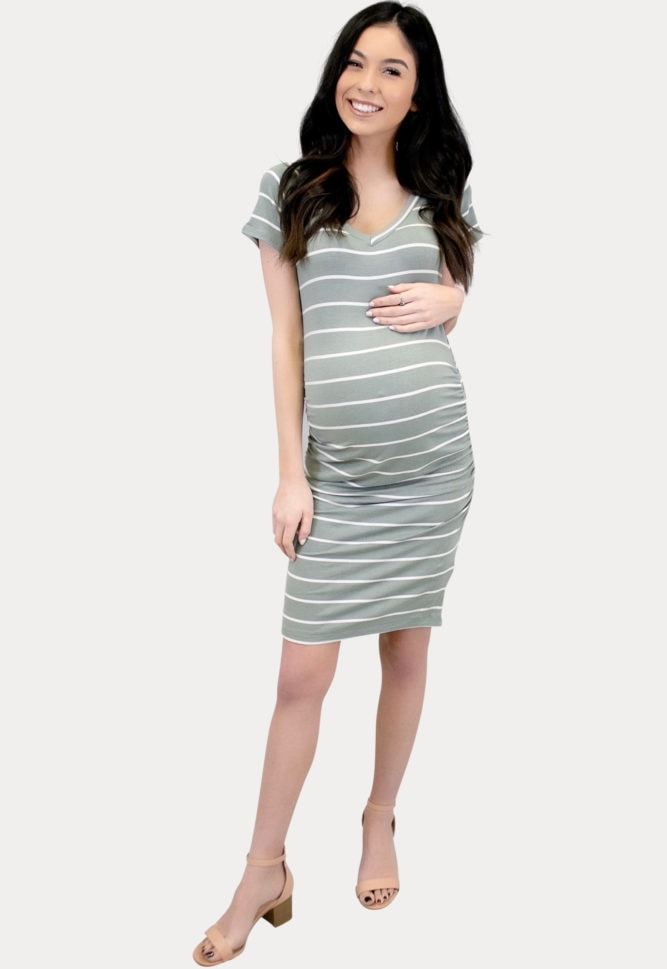 maternity dress with stripes