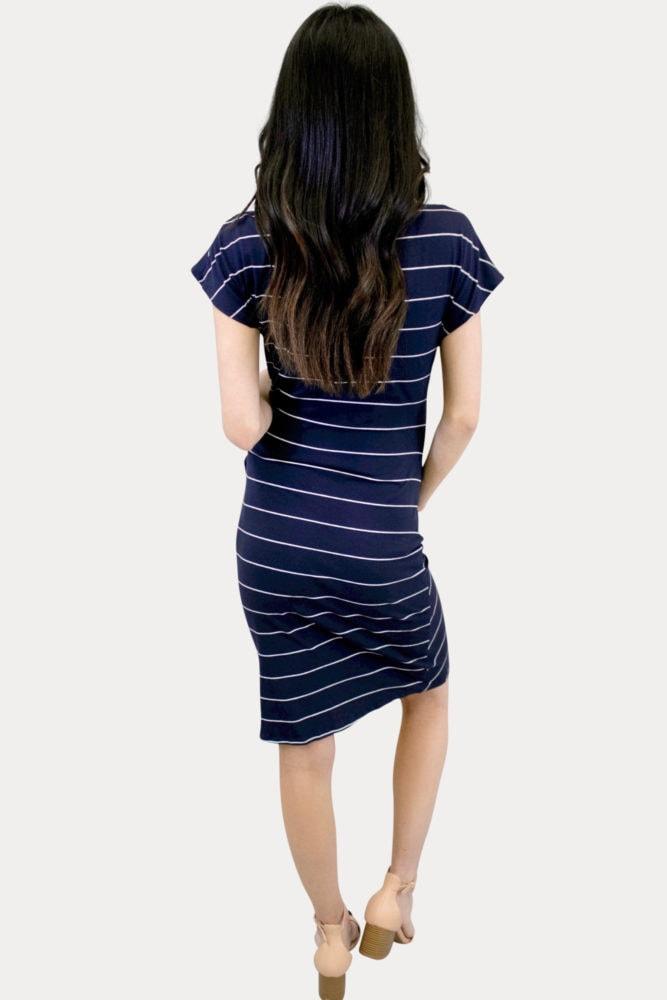 striped navy maternity dress