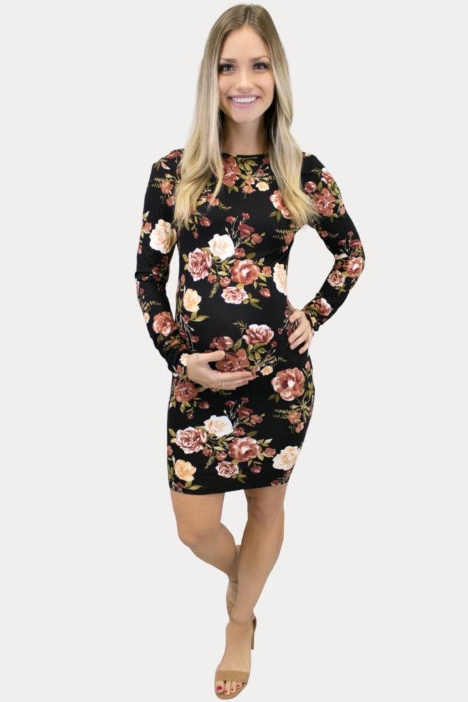 black floral scoop back maternity dress
