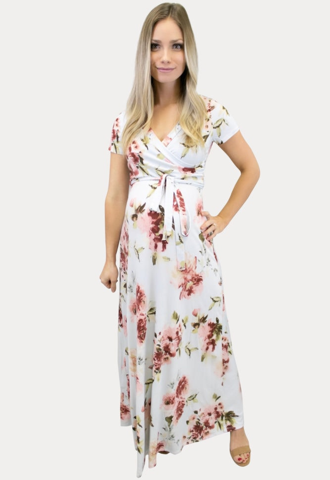 Light Blue Floral Maternity Maxi