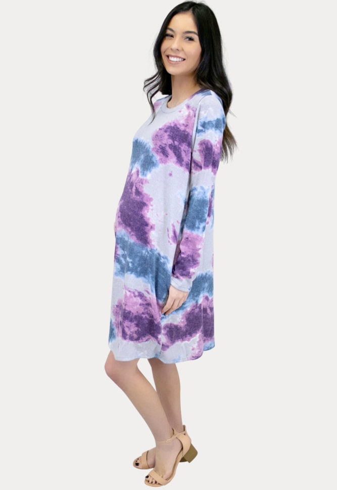 long sleeve tie dye maternity dress