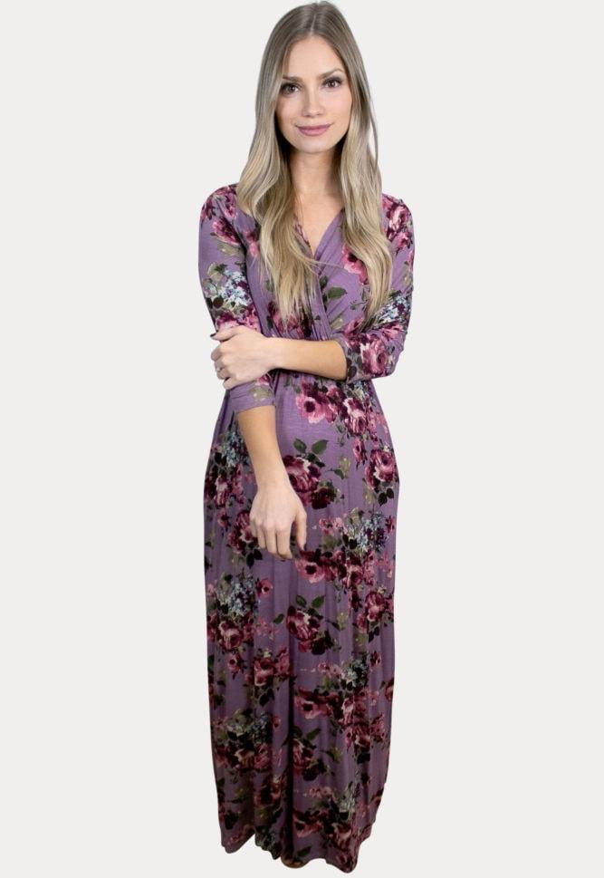 purple floral maternity maxi