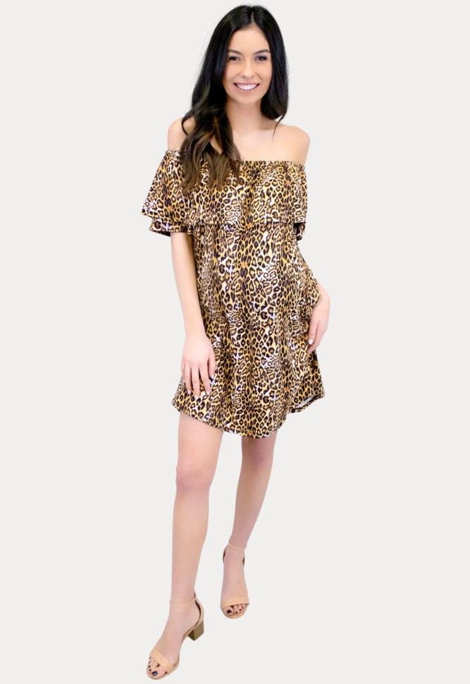 flowy leopard maternity dress