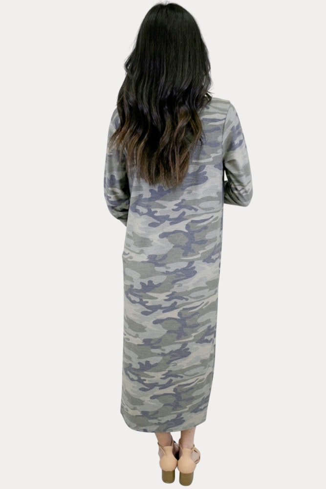 long sleeve camo duster