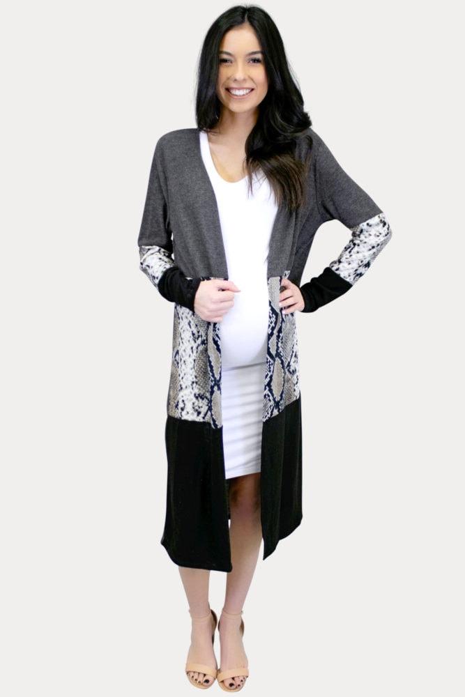 snake print maternity kimono