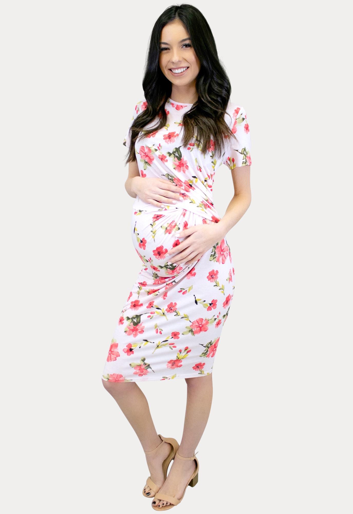 Floral Blush Maternity Dress Sexy Mama Maternity