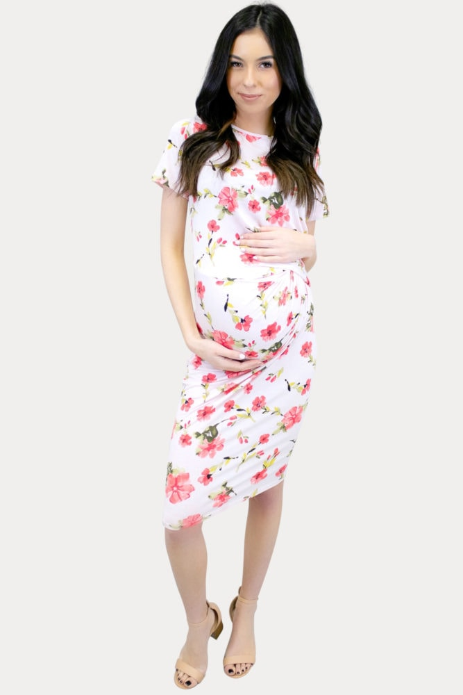 floral blush maternity dress