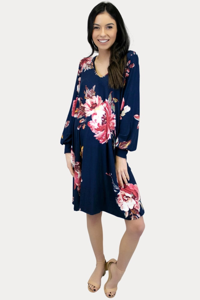 floral maternity dress in navy