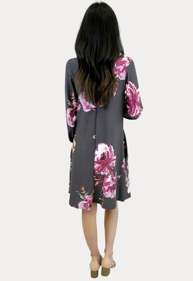 floral maternity dress in charcoal