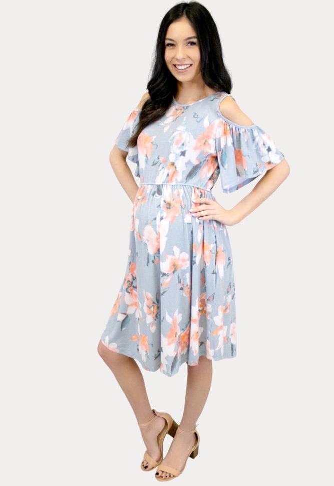 open shoulder maternity dress