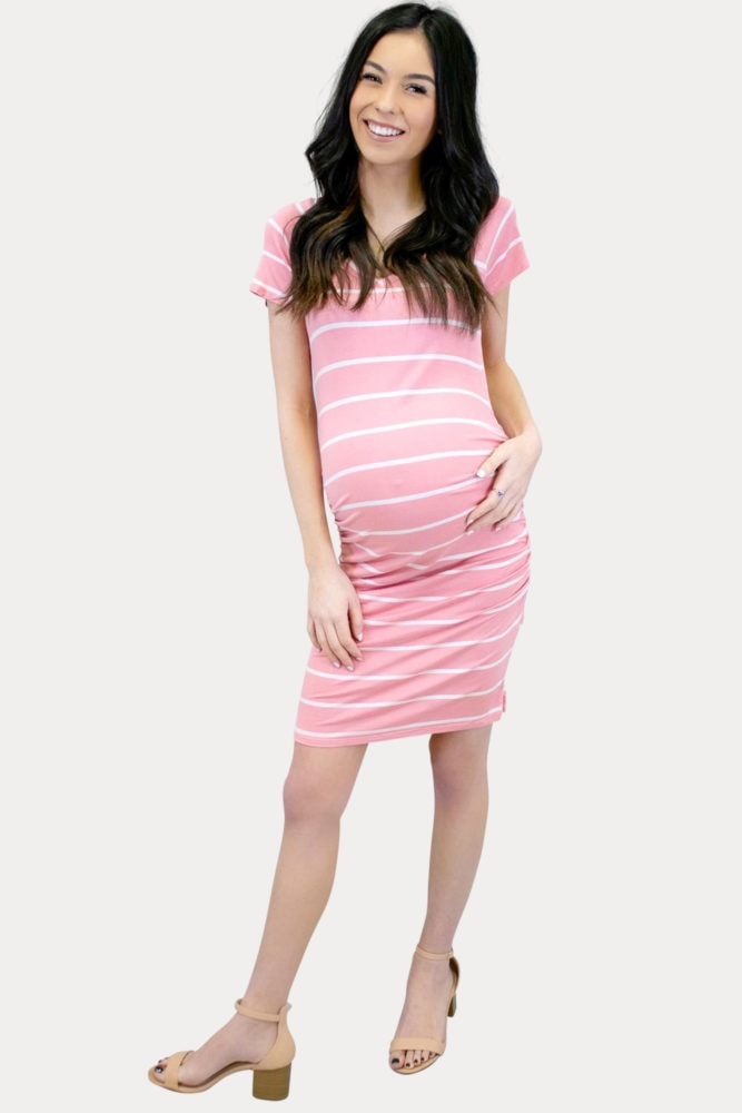 striped pink maternity dress