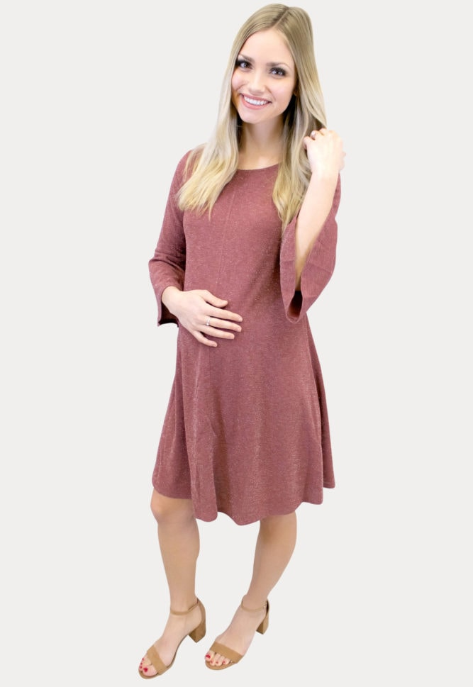 sparkly bell sleeve maternity dress