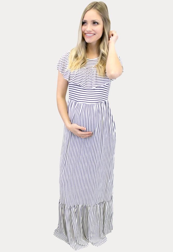 white striped maternity maxi