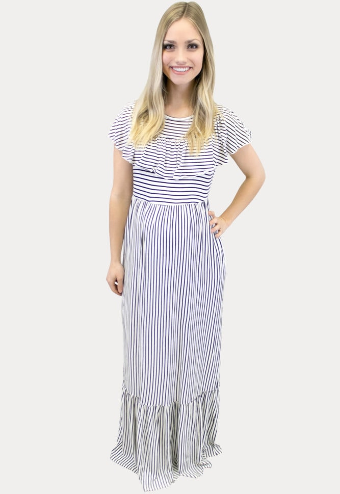 Features a fun, thin stripe pattern with some added ruffles.
