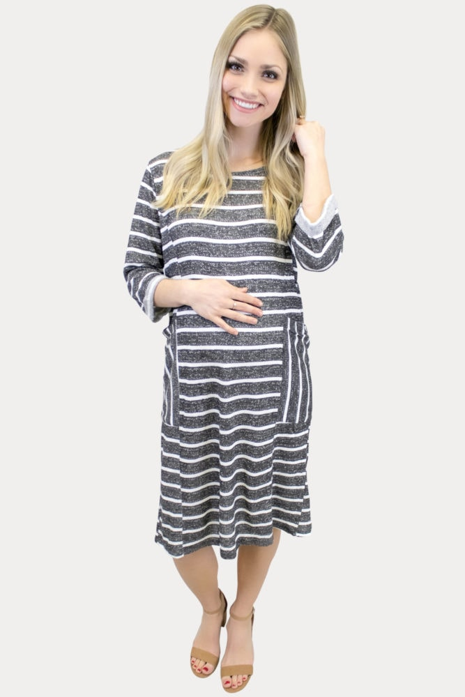 charcoal stripe maternity dress