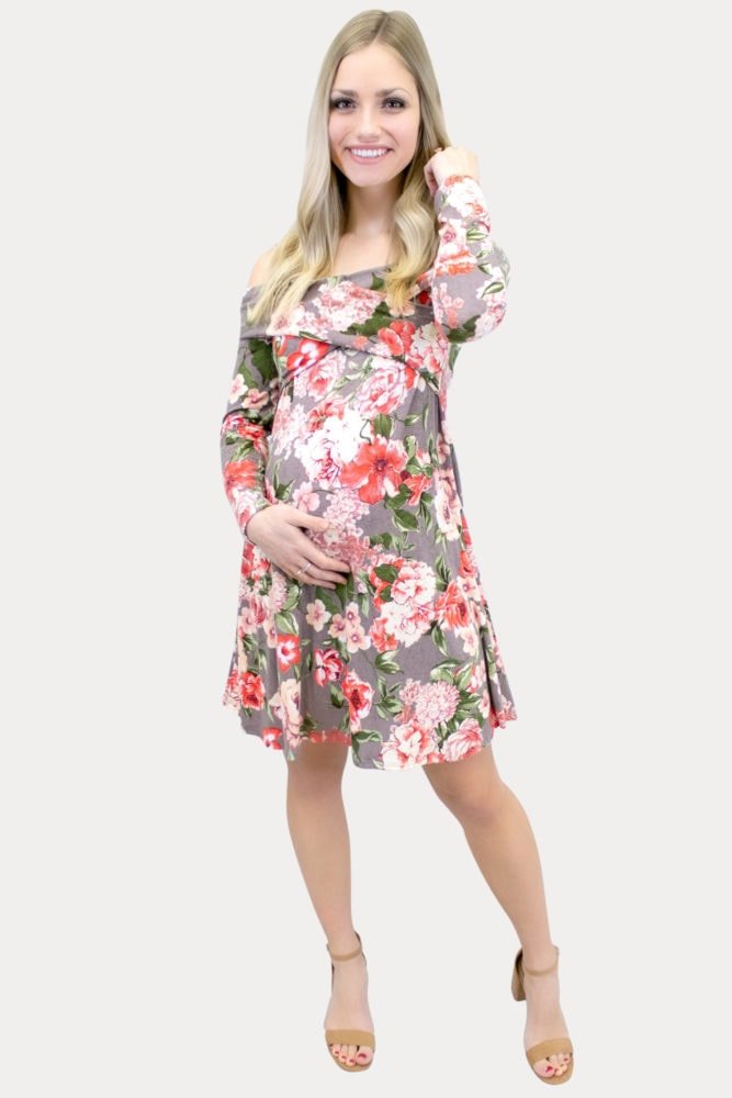 floral taupe maternity dress